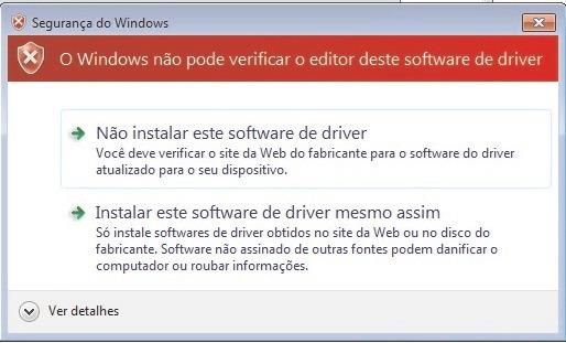 O Windows não pode verificar o editor deste software de driver -  Instalar software de drive mesmo assim