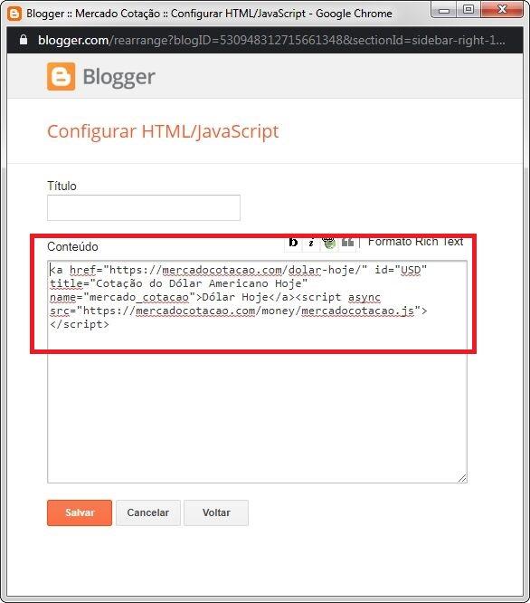 Adicionando cotação no blogger - Colar Código