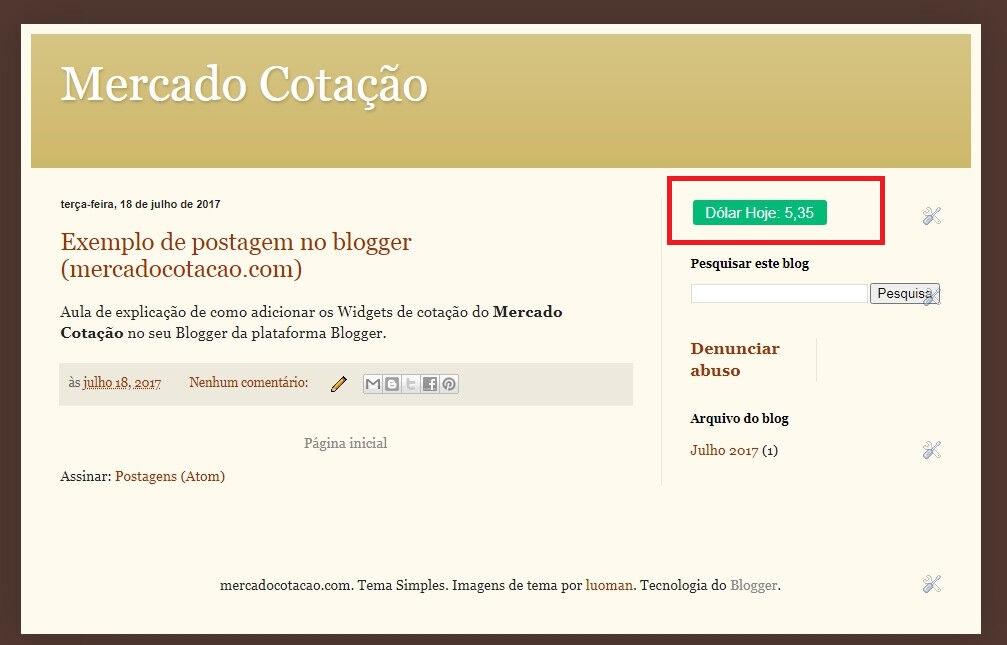 Adicionando cotação no blogger - Blogger com cotação do dolár