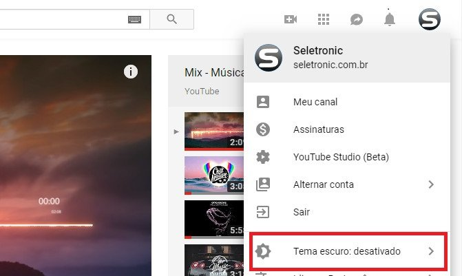 Tema preto do youtube como ativar parte 2