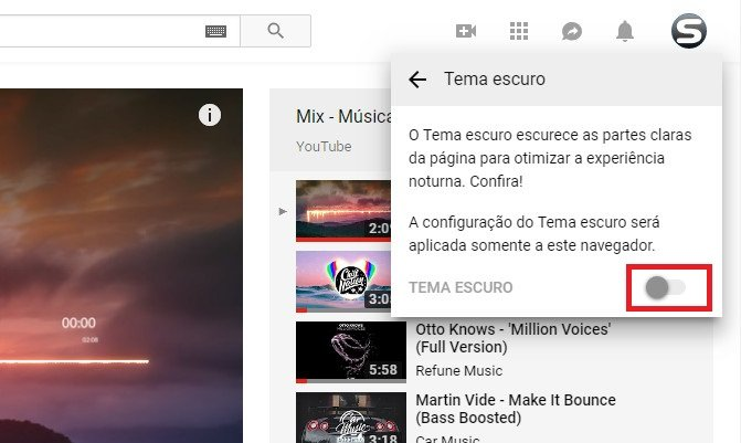 Tema preto do youtube como ativar parte 3