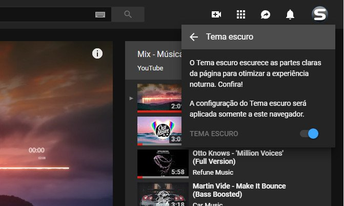Tema preto do youtube como ativar parte 4