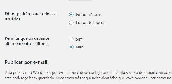 Escolher editor padrão para todos os usuários WordPress