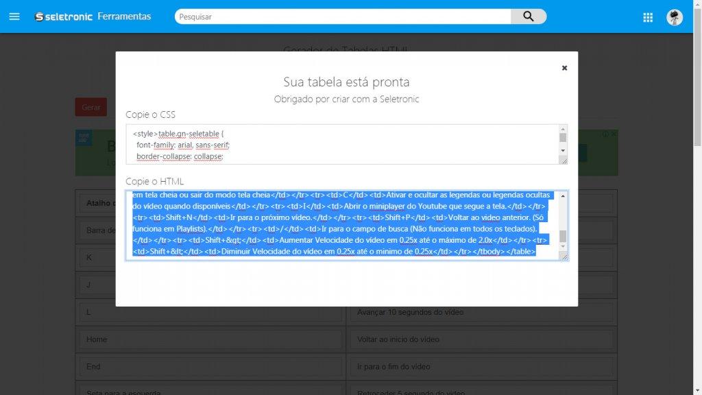 Código pronto para copiar HTML e CSS