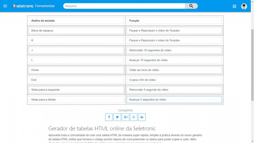 Criando tabela HTML na Ferramenta da Seletronic