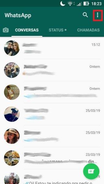 Sair / desconectar do Whatsapp web passo 1