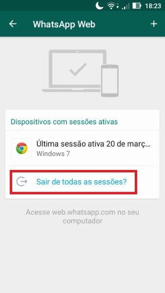 Sair / desconectar do Whatsapp web passo 3