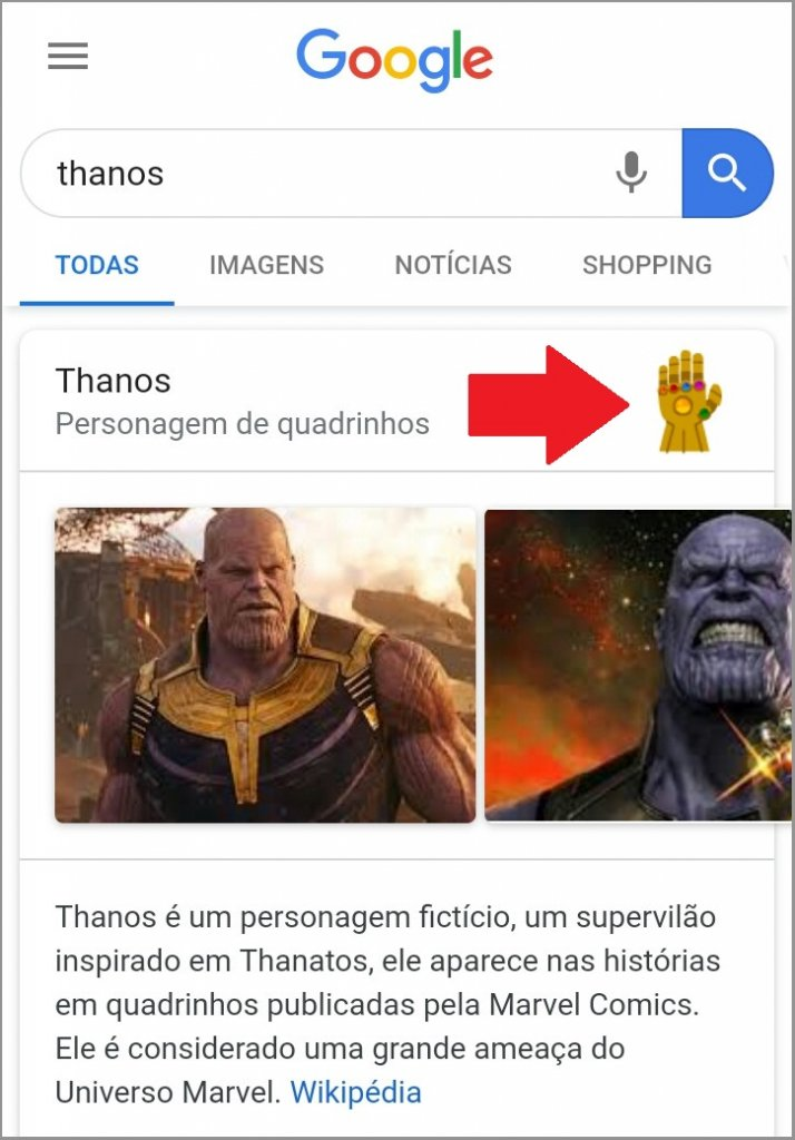 Manopola do Thanos no Google