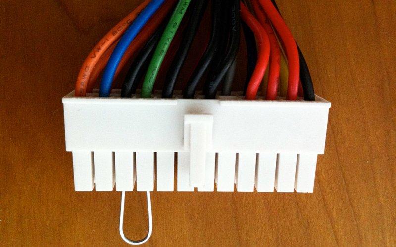 Vista de frontal do cabo com o jumper realizado