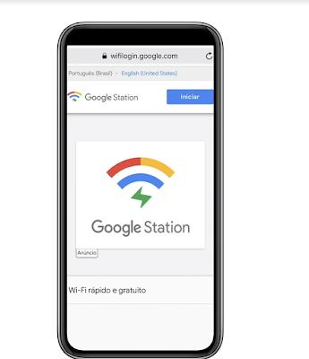 Tela de Acesso e conexão com Google Station