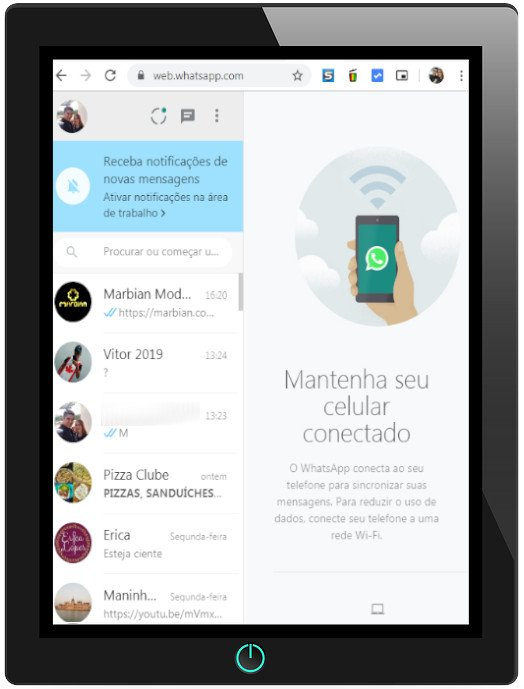 Tablet Android ou iOS iPad com Whatsapp WEB
