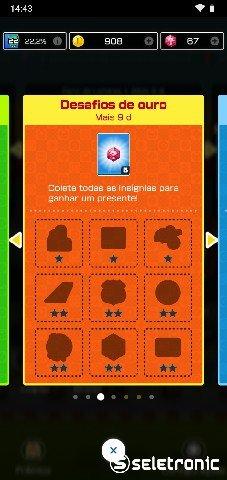 Quadro de Desafios de Ouro de Mario Kart Tour que paga 5 rubis