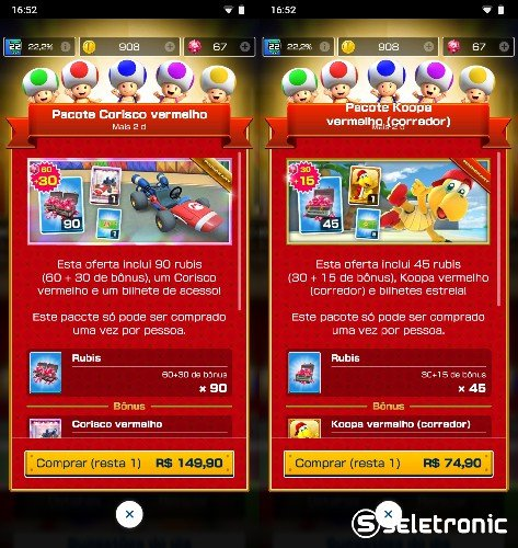 Ofertas de pacote em Mario Kart Tour que contem rubis baratos