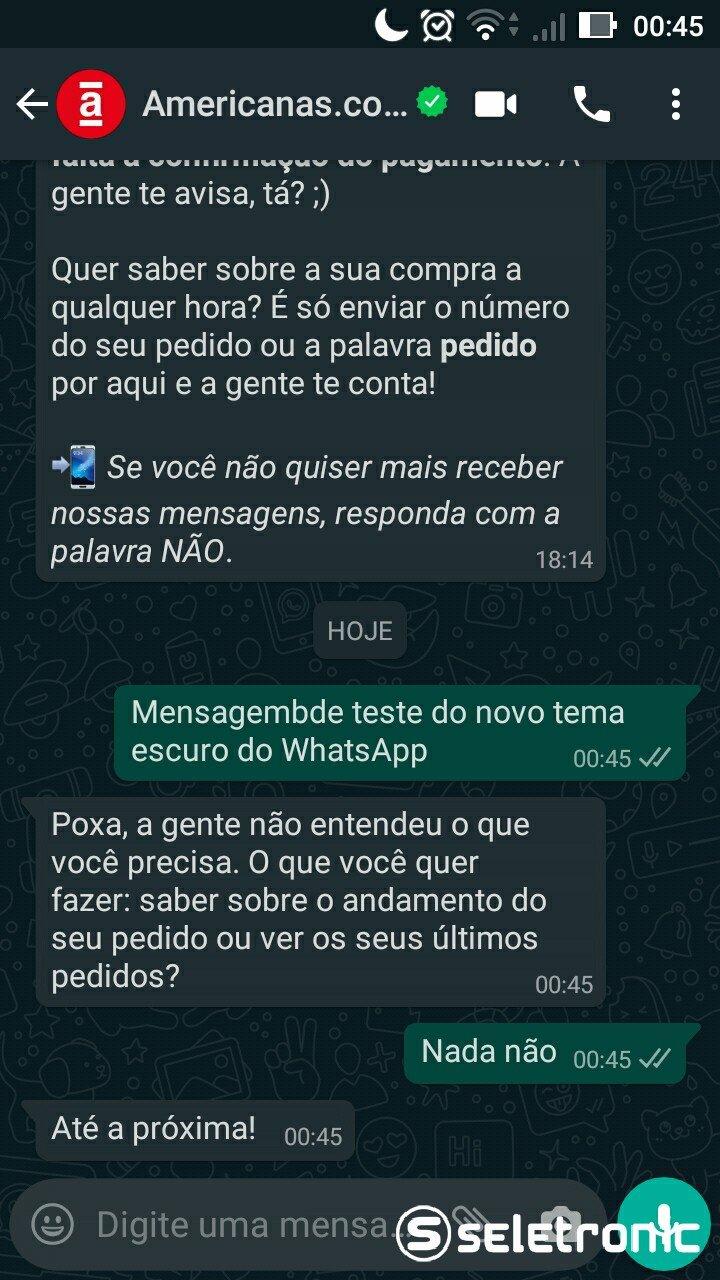 Tema Escuro do Whatsapp - Conversa