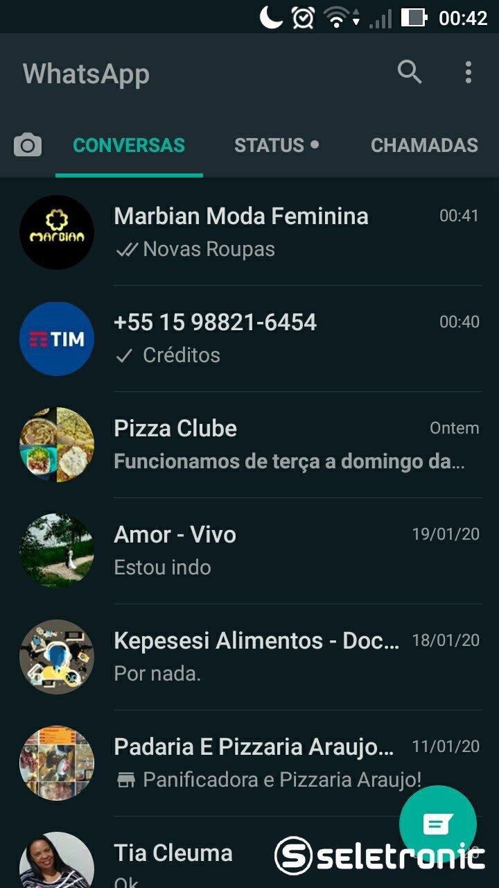 Tema Escuro do Whatsapp - Tela de ultimas conversas