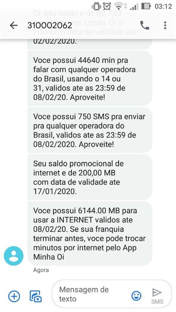 Exemplo de SMS recebido ao ligar *805