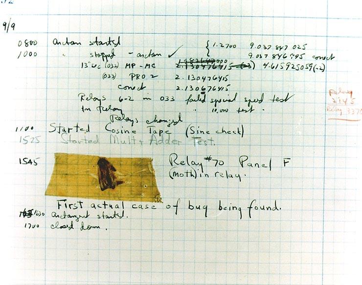 Foto do diário de bordo com bug Mark II