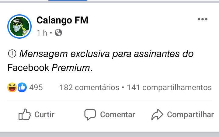 Postagem - Mensagem Exclusiva para assinantes do Facebook Premium