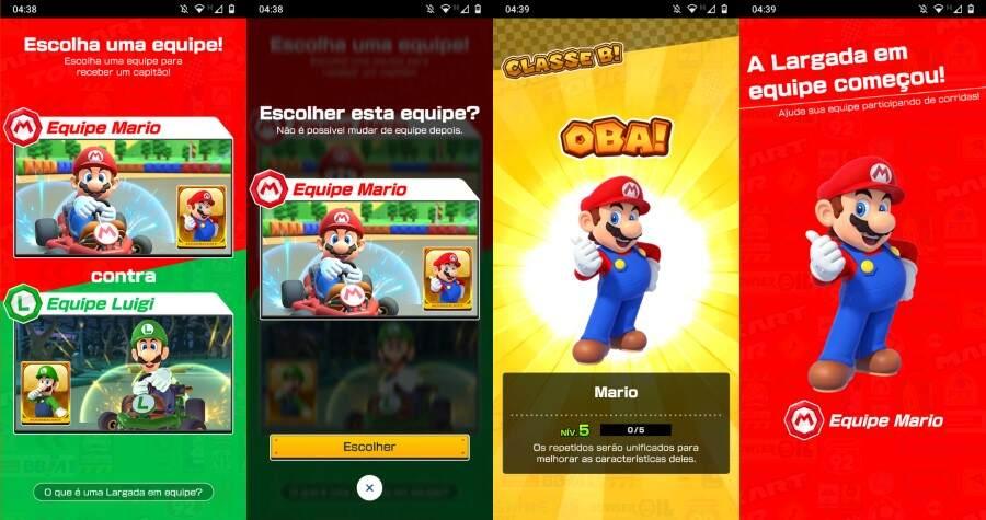 Seleção de time Mario kart tour - Mario vs Luigi