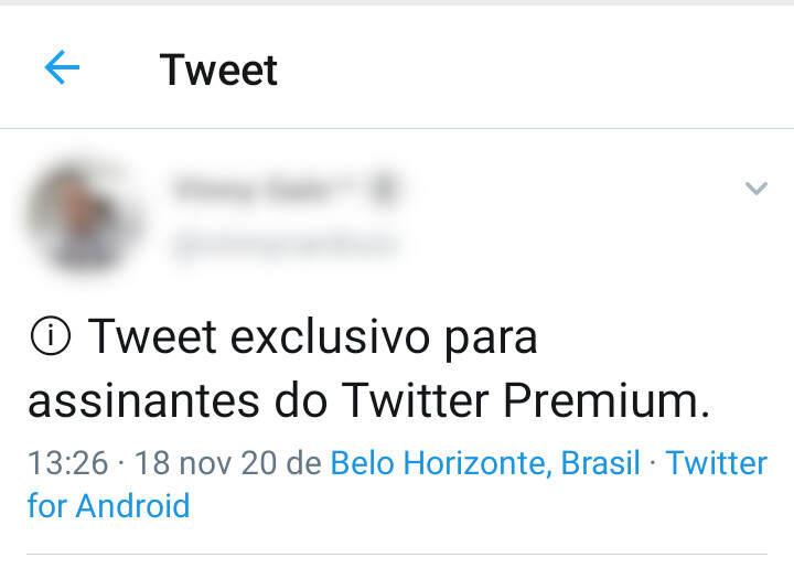 Exemplo de ⓘ Tweet exclusivo para assinantes do Twitter Premium.