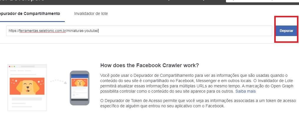 Corrigir URL publicado no Facebook - Acessando o depurador de compartilhamento