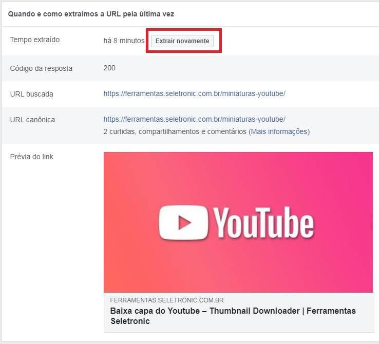Corrigir URL publicado no Facebook - Executando o depurador de compartilhamento