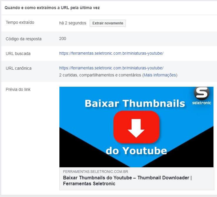 Corrigir URL publicado no Facebook - Dados atualizados