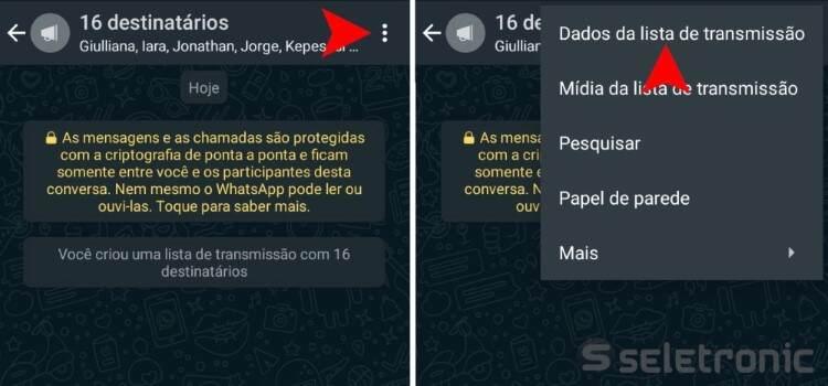 lista de transmissão do WhatsApp - dados da lista