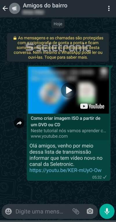 lista de transmissão do WhatsApp - enviando uma mensagem
