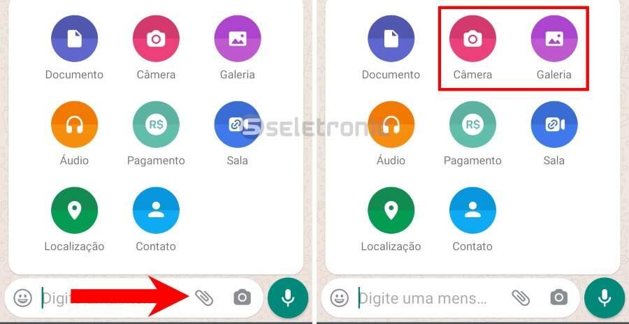 Enviar fotos e videos temporários no Whatsapp - Galeria ou Foto