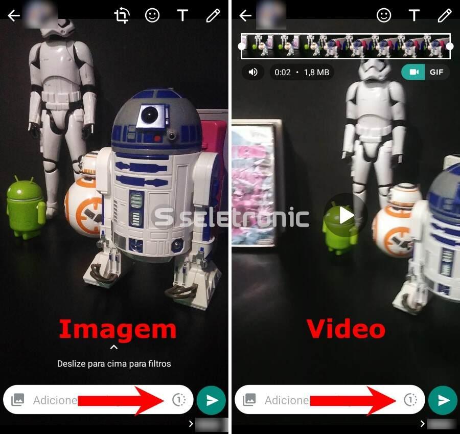 Enviar fotos e videos temporários no Whatsapp - Imagem ou video