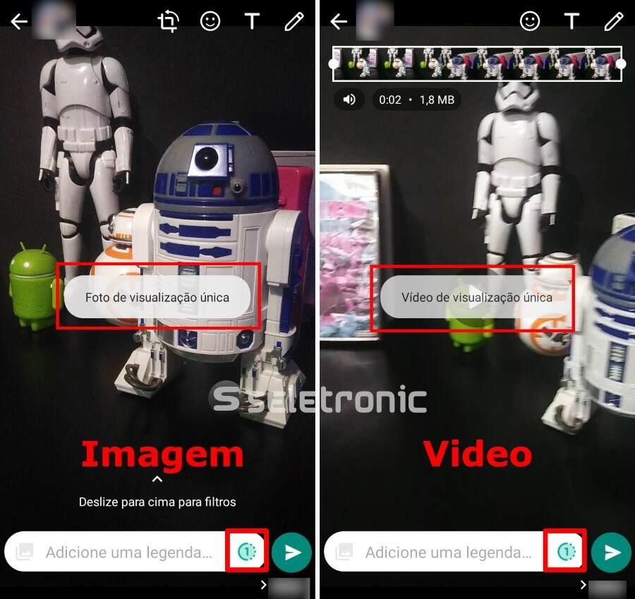 Enviar fotos e videos temporários no Whatsapp - Visualização unica