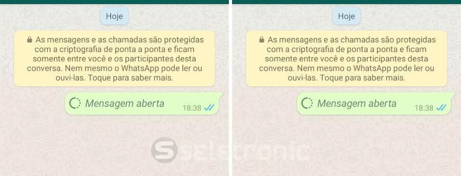 Enviar fotos e videos temporários no Whatsapp - Mensagem aberta
