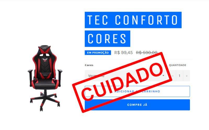 Imagem de Cuidado com o Golpe da cadeira Gamer de R$ 99